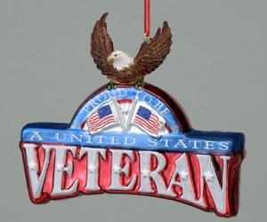 United States Veteran Glass Ornament