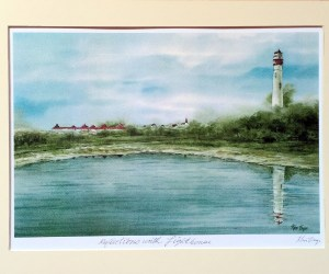 Reflections with Lighthouse-Unframed Print