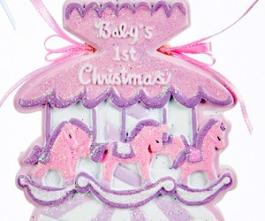 Baby's First Chirstmas Carousel Ornament- Girl