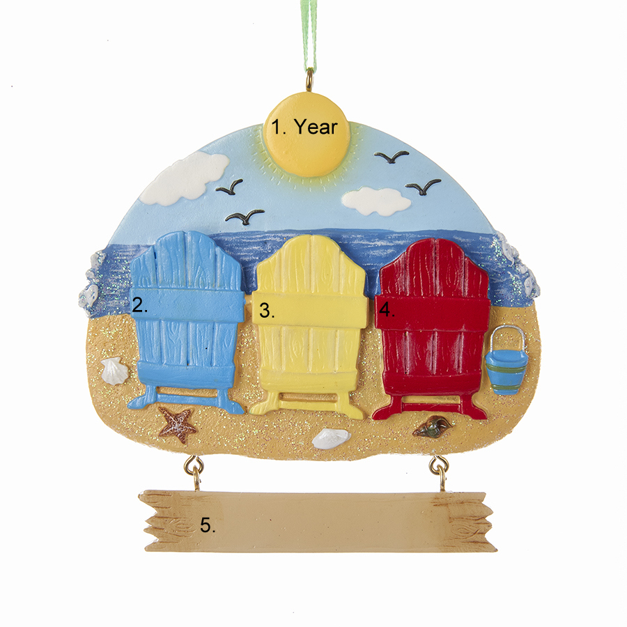 Beach Chairs Personalized Ornament3  Winterwood Gift