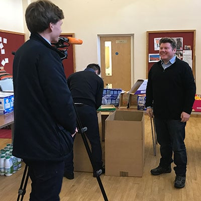 Dean Russell interviewed by London Live as part of a charity mission for #BasketBrigade