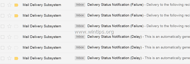 Stop Mail Delivery Failed notifications for messages that