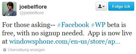 Facebook Beta WP7