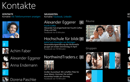 Windows Phone 8.1 Kontakte-Hub