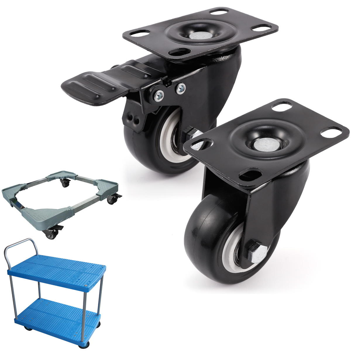 desk chairs without wheels uk invacare clinical recliner geri chair set of heavy duty 50mm rubber swivel castor wheel trolley