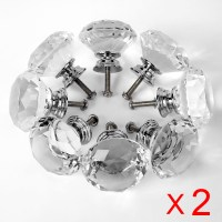 16x Diamond Effect Crystal Glass Clear Door Knobs Kitchen ...