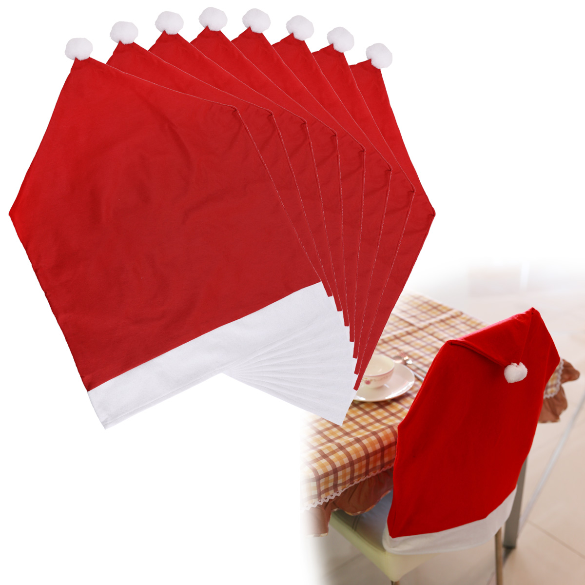 santa chair covers sets rocking runners replacement 8 red hat christmas dining room back cover