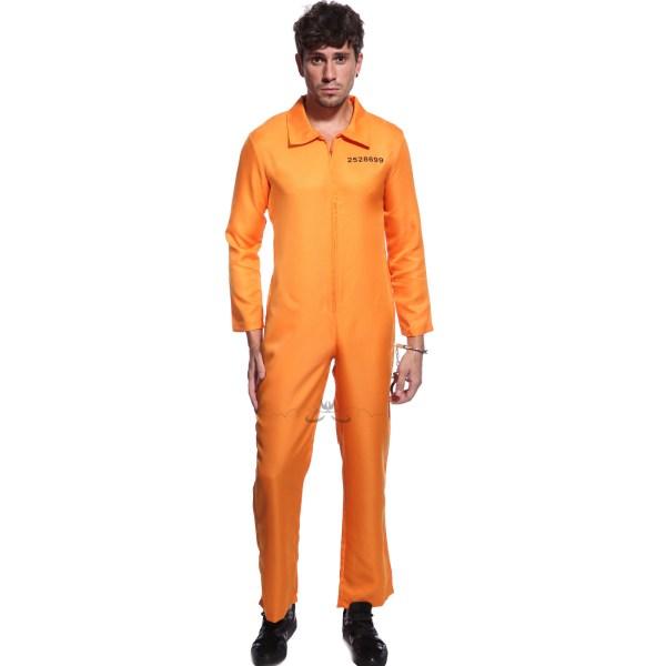 Mens Womens Convict Costume Jail Jumpsuit Orange Prisoner