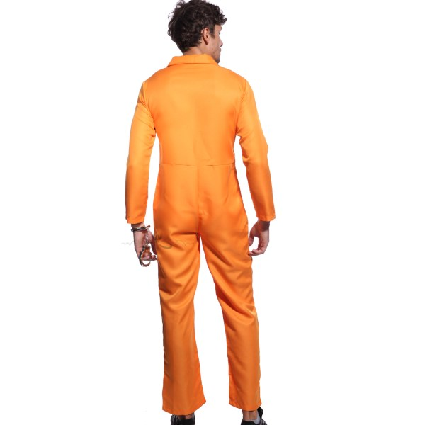 Orange Prisoner Jumpsuit Boiler Suit Convict Fancy Dress