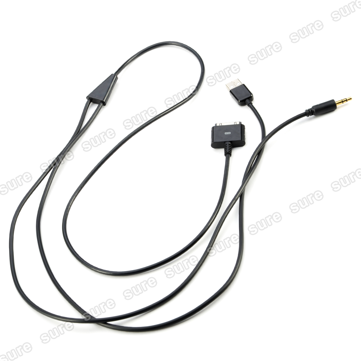BLACK 3.5mm AUX / USB CAR Audio Cable for Apple iPhone