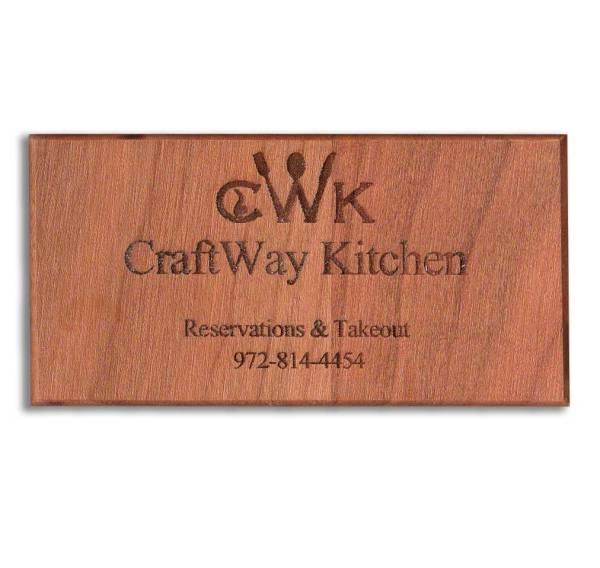 Custom Engraved Wood Business Card Refrigerator Magnets - WinWoodDesigns.com