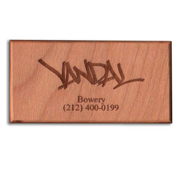 Cherry Laser Engraved Magnetic Wooden Business Card - WinWoodDesigns.com