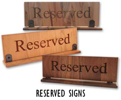 Reserved signs for restaurants, bars and cafes