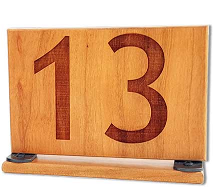 Table Numbers DoubleSided X Warm Cherry WinWood Designs - Table numbers restaurant supplies