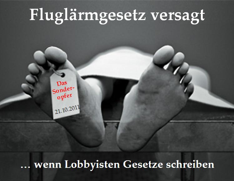 """Aktion """"Sonderopfer"""" gegen Fluglärm"""