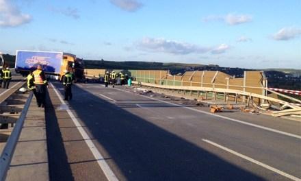 Horror-Crash auf der A 63 auf der Weinheimer Talbrücke