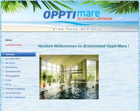 Internetseite des Hallenbades in Oppenheim.