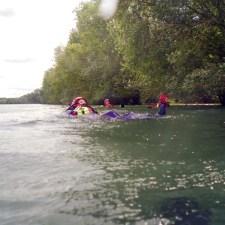 Hier üben die Teilnehmer schwimmen im Fließgewässer und zwar in Rhein bei Ingelheim. (Bild: Andreas Fuhr)