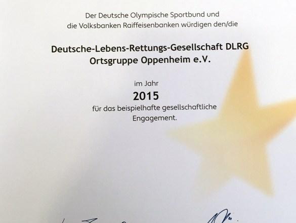 """DLRG Oppenheim freut sich über die Auszeichnung """"Sterne des Sports"""" in Bronze"""