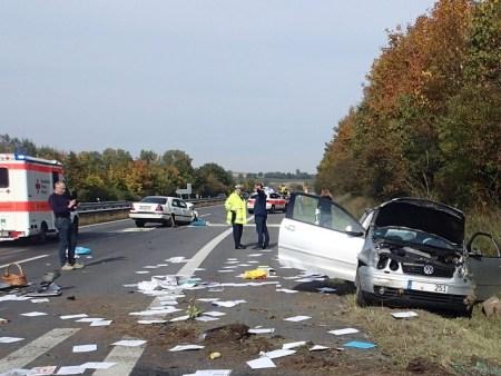 Unfall auf der A63. (Bild: Polizei Wörrstadt)
