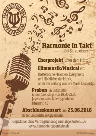 """""""Harmonie In Takt"""" Oppenheim sucht zusätzliche Stimmen für ein Chorprojekt."""