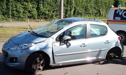 Unfall in Mainz: Fahrzeug überschlägt sich zwei Mal