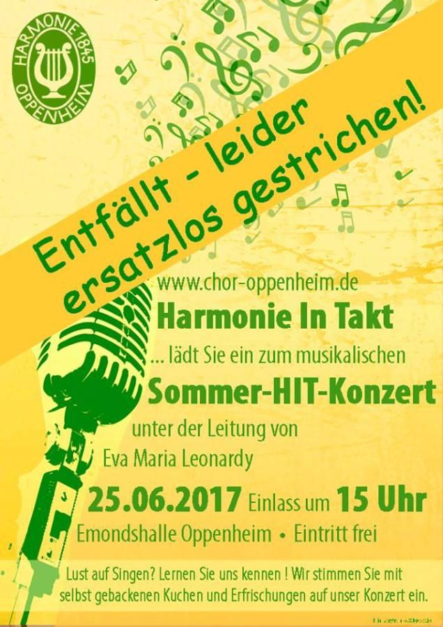 Sommerkonzert HIT-Harmonie-Chor Oppenheim fällt aus