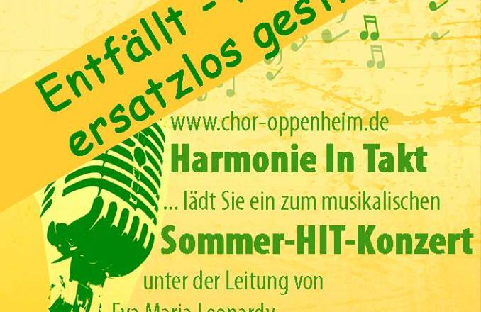 Wegen der Stichwahl – Sommerkonzert HIT-Harmonie-Chor Oppenheim fällt aus