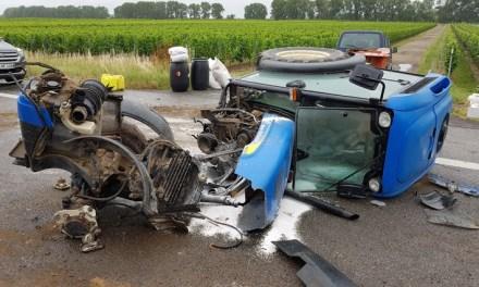 Schwerer Unfall mit einem Traktor auf der B9