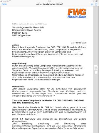 FWG Rhein-Selz und restliche Opposition fordern Compliance-Regelung für die VG Rhein-Selz und deren Verwaltung 1