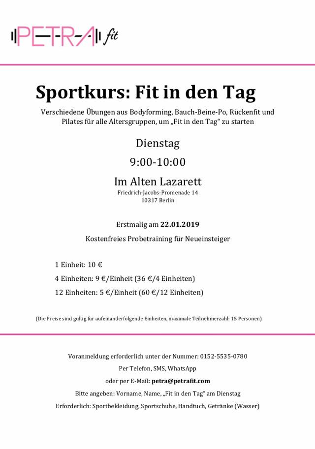 WiR – Wohnen in der Rummelsburger Bucht Nachbarschaftsverein – Sportkurs Fit in den Tag im Alten Lazarett in Rummelsburg