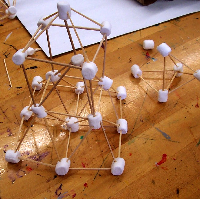 A marshmallow diamond (right) and as-yet-unknown molecule, left (Image: Kathy Ceceri)