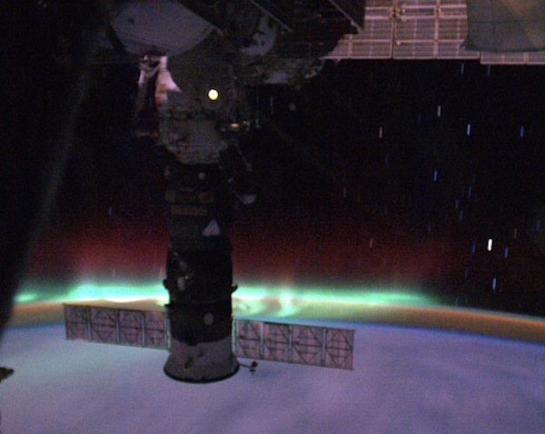 The Aurora as seen from the ISS (Image: Soichi Noguchi)
