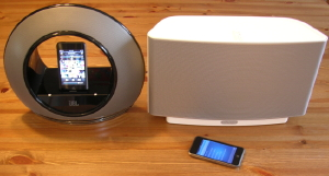 JBL Radial iPod Speaker Dock and Sonos S5 ZonePLayer (photo by Brad Moon)