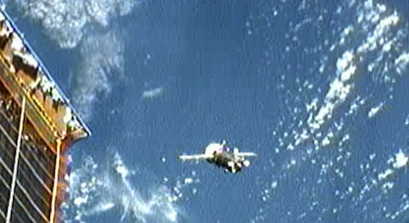 A progress re-supply craft approaches the ISS this past week. (Image: NASA TV)