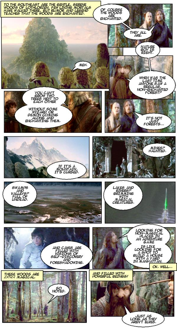 The Fellowship arrives in Lothlorien. Image: Shamus Young, used with permission.