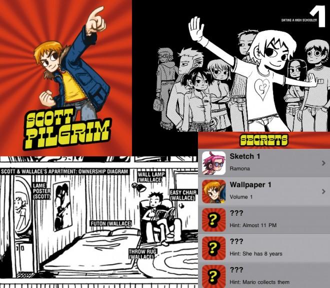 Screenshots of Scott Pilgrim app