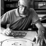 """Charles Schulz drawing """"you know who"""" at desk"""