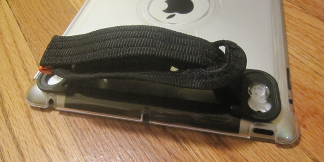 The handstrap attaches horizontally or vertically.