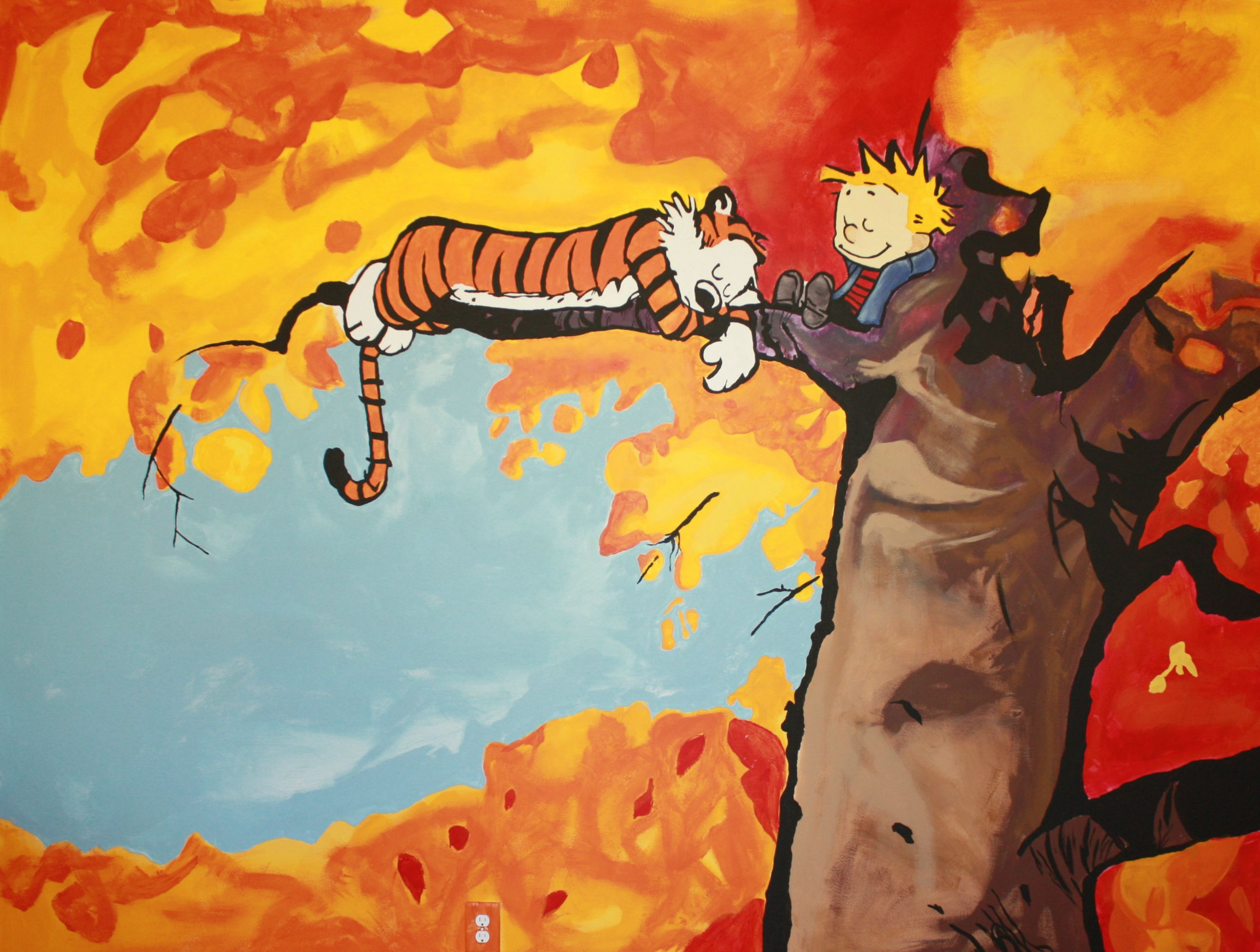 Calvin And Hobbes Fall Wallpaper Amazing Calvin And Hobbes Mural Time Lapse Geekdad