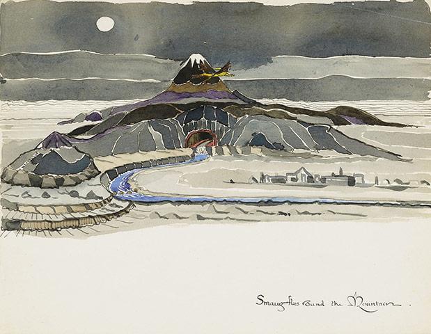 smaug flies around the mountain