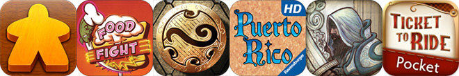 Boardgame app icons: Carcassonne, Food Fight, Wizard Hex, Puerto Rico, Ascension, Ticket to Ride