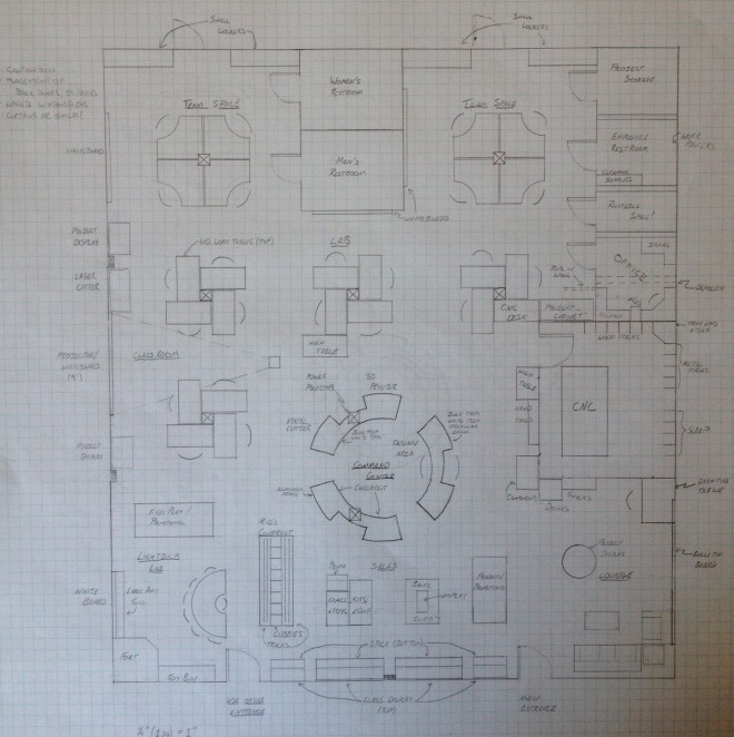 Pencil sketch of MindGear Labs floor layout.