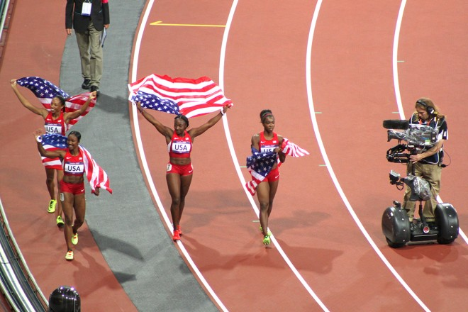The record breaking US women's 4x100 relay team and the SeqCam
