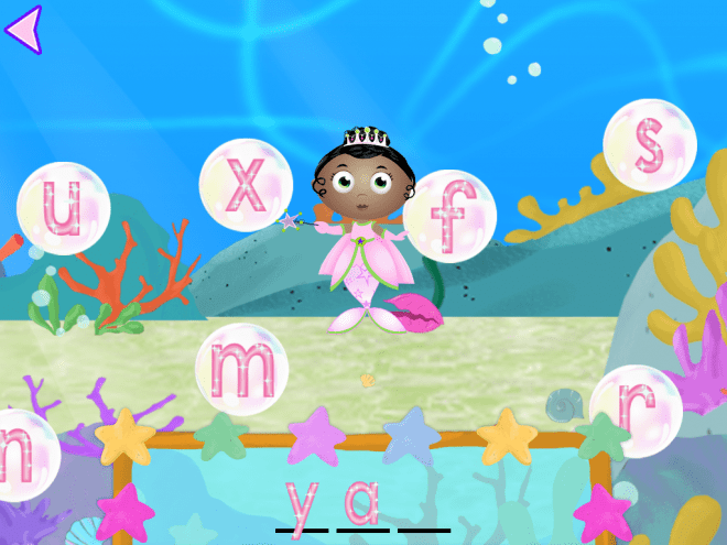Princess Pea helps kids spell by sounding out the letters.