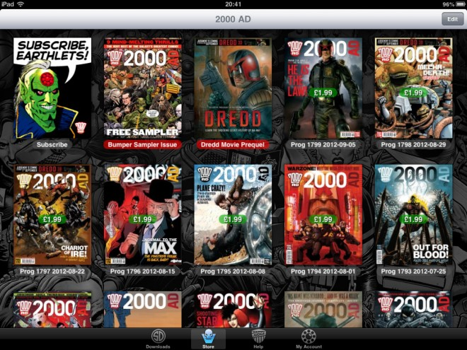The 2000AD Newsstand app