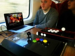 Playing on the train. Yes, we probably looked like idiots.