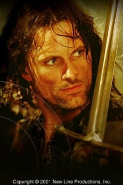 shot of Aragorn as a Ranger, holding his blade