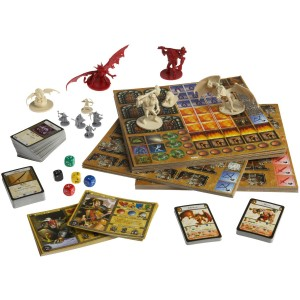 descent, pieces of the game, board, figurines, cards