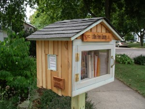 community building through books, neighbor to neighbor, micro library, book sharing, birdhouse library,